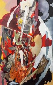Slow burn oil and collage on canvas 9 ft. x 5 1/2 ft.